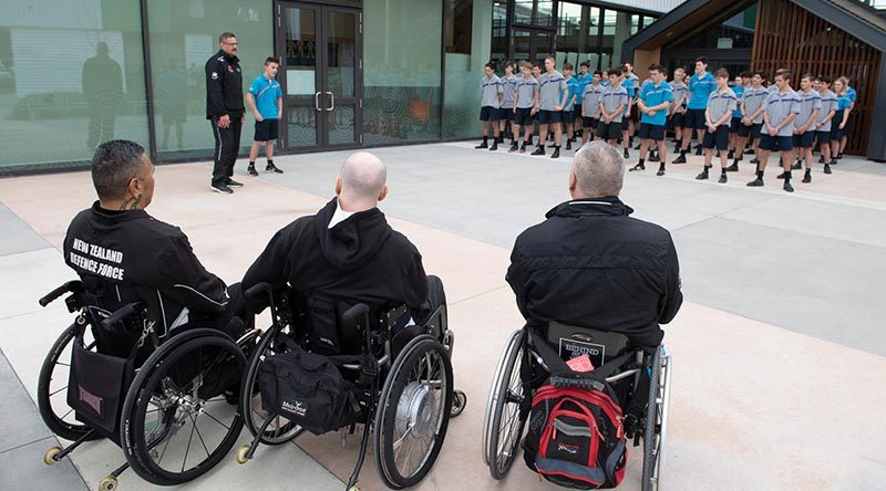 NZDF Invictus Games team members are welcomed to Rolleston College, before talking to students about the healing power of sport. NZDF photo.