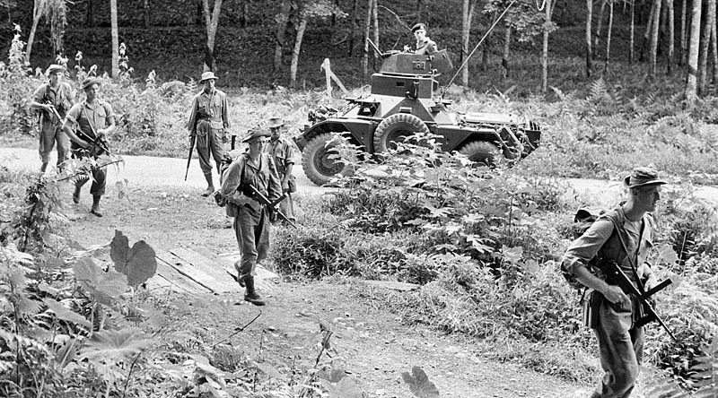 Members of B Company 2 RAR go on a patrol in Perak in 1956. AWM photo HOB/56/0751/MC via anzacportal.dva.gov.au