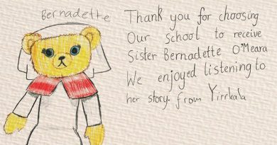 A message from an Australian primary school happy to receive a Bear to Schools Nurse Bernadette O'Meara bear to help them understand the ANZAC story.