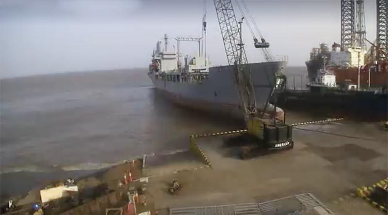 Former HMNZS Endeavour in India about to be broken up for scrap. NZDF video screenshot.