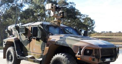 In July 2018 the R150 was succesfully integrated into a Hawkei vehicle (pictured) and conducted live fire stationary and moving shots. EOS photo.