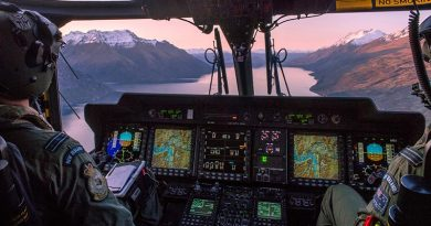 A 3 Squadron NH90 operating out of Queenstown on a patrol of New Zealand's Fiordland. NZDF photo.
