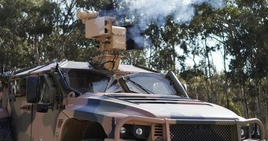 Hawkei fires an Electro Optic Systems RS400 Mk2 remote weapon system fitted with 40mm lightweight automatic grenade launcher at the Graytown proving grounds, Victoria. Photo by Jim Cowie.
