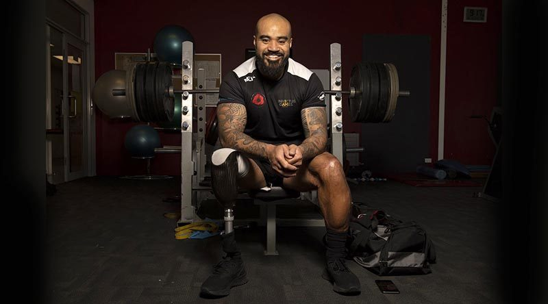 Kiwi Samoan Nu Filo prepares for Invictus Games during a NZ team training camp at Burnham Military Camp. NZDF photo.