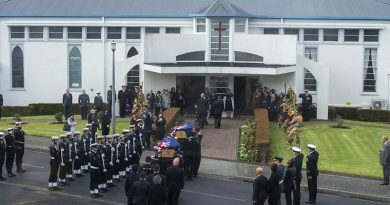 The remains of two Royal New Zealand Navy sailors are carried into St Christopher's Chapel, Devonport Naval Base to be returned to their families, as part of project Te Auraki (The Return). NZDF photo.