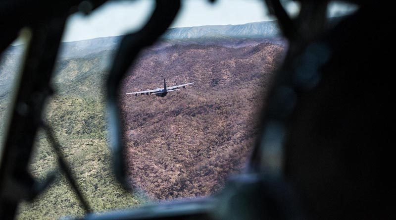 C-130 Hercules tactical formation flying in Australia. ADF photo.