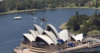 Two Black Hawk helicopters from 6th Aviation Regiment fly over Sydney Harbour to celebrate 50 years of the Australian Army Aviation Corps. Photo by Photo by Flight Sergeant Glen McCarthy.