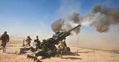 US Marines fire an M982 Excalibur® from an M777 155mm howitzer during a fire support mission at Fire Base Fiddlers Green, Helmand province, Afghanistan, October 2011. US DoD photo.