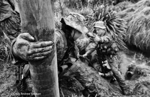 Soldiers help each other during initial training. An image from He Hōia Ahau – I am Soldier. Photo by Craig Madsen.
