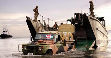 FILE PHOTO (November 2013): An Australian Army Land Rover lands on a beach in the Philippines during Operation Philippines Assist. Photo by Corporal Jake Sims (digitally altered by CONTACT).