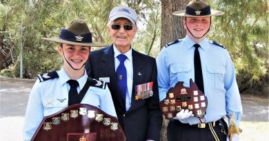 Bomber Command veteran, Flying Officer Ern Milde, with award winners Cadet Sergeant Tegan Thomas, 622 Squadron's Cadet of the Year and Cadet Flight Sergeant Blake Harding, 602 Squadron's Senior Cadet of the Year. Photo by Flying Officer (AAFC) Paul Rosenzweig