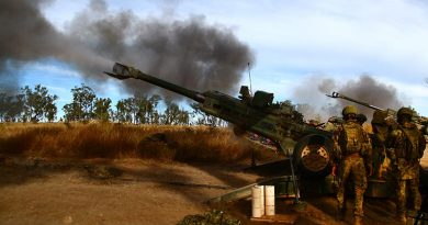 M777 artillery fire at High Range Training Area. Photo by Brian Hartigan.