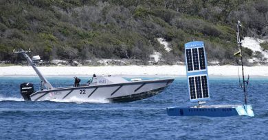 A Maritime Autonomy Surface Testbed from the Defence Science and Technology Laboratory (UK), and Bluebottle from OCIUS, at Exercise Autonomous Warrior 2018 in Jervis Bay.
