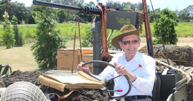 Former WWII PoW Gordon Jamieson in a WWII jeep at Carinity Cedarbrook nursing home. Photos supplied by Carinity Cedarbrook.