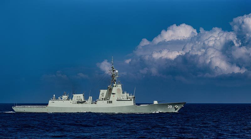 HMAS Hobart underway at sea. Photo by Able Seaman Steven Thomson.