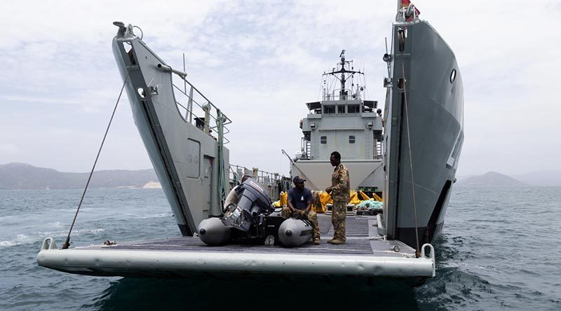 On Her Majesty's Papua New Guinea Ship Lakekamu sailors and soldiers prepare to launch exclusion-zone markers off the coast of Port Moresby for APEC 2018 Leaders' Week security. Photo by Able Seaman Kieren Whiteley.