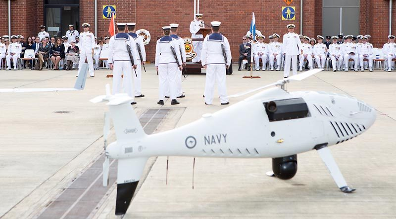 Royal Australian Navy officers and sailors of 822X Squadron on parade during the commissioning ceremony at HMAS Albatross, Nowra, NSW. Photo by Petty Officer Justin Brown.