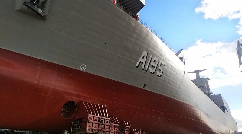 The Royal Australian Navy's NUSHIP Supply sits ready for launch in Ferrol, Spain. Navantia photo.