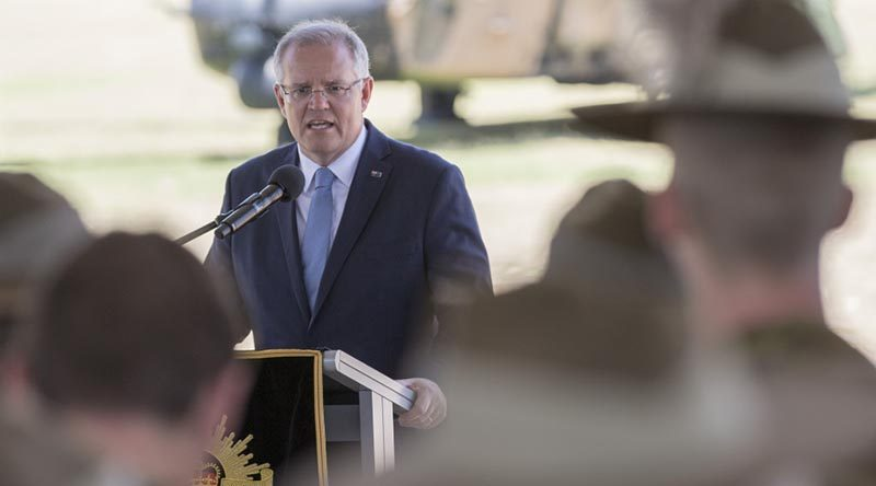 Prime Minister Scott Morrison addresses troops at Lavarack Barracks. Photo by Private Brodie Cross.