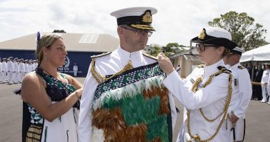 New Chief of Navy Rear Admiral David Proctor, has the Chief of Navy's symbol, the korowai, placed on him at a change of command ceremony, 29 November 2018. NZDF photo.