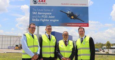 Air Vice Marshal Leigh Gordon, Kevin Kirkpatrick, Andrew Sanderson, Steve Ciobo at TAE Aerospace's new engine-maintenance facility. TAE Aerospace photo.
