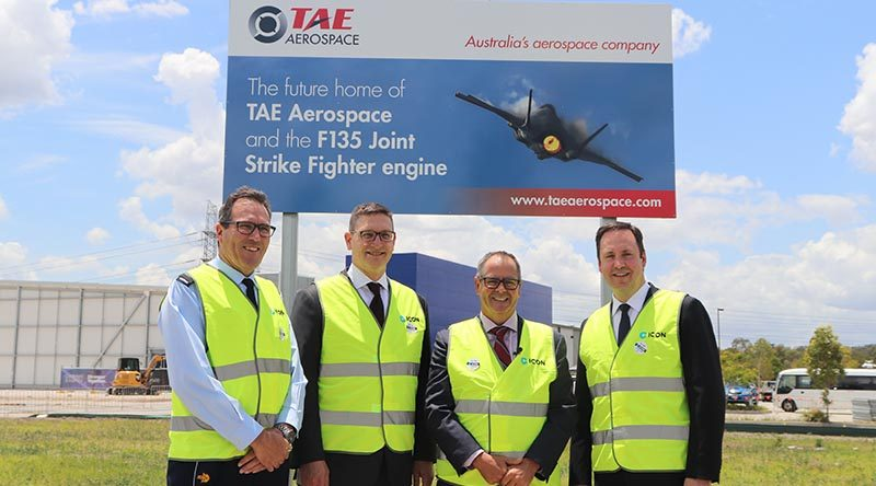 Air Vice Marshal Leigh Gordon, Kevin Kirkpatrick, Andrew Sanderson, Steve Ciobo at TAE Aerospace's new engine-maintenance facility. TAE Aerospace photo.