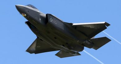 One of the first two Royal Australian Air Force F-35A Lightning Joint Strike Fighters flies overhead RAAF Base Williamtown on delivery day. Photo by Brian Hartigan.