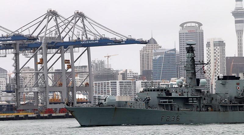 The Royal Navy'sDuke-class frigateHMSMontrose departs Auckland, New Zealand after a five-day visit. Photo and video by Mike Millett, AirflowNZ.
