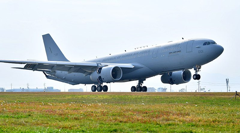 Republic of Korea Air Force receives first Airbus A330 MRTT at Gimhae Air Base. Air Bus photo.