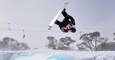 Australian Army Major Alistair Court backflips during the men's slopestyle final at the Australian Defence International and Interservices Alpine Snow Sports Championships at Mt Perisher, New South Wales. Photo by Corporal Chris Beerens.