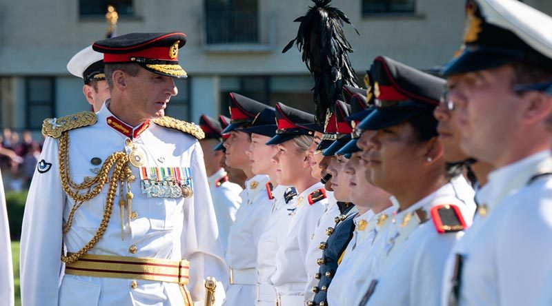 Chief of the Defence Force General Angus Campbell inspects the parade during the 2019 Australian Defence Force Academy Chief of the Defence Force parade. Photo by Michelle Kroll.