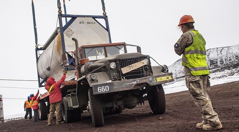NZDF personnel move cargo containers at McMurdo Station. NZDF photo.