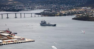 Royal Australian Navy ship HMAS Choules serves as Flag Ship for the 2019 Royal Hobart Regatta in Tasmania's Derwent River. Photo by Petty Officer Justin Brown.
