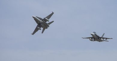2 F/A-18s out of RAAF Base Williamtown. Photo by Brian Hartigan.