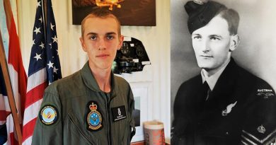 CCPL Sean Fry, 605 Squadron, Seaford, honouring the service of his late grandfather Mark Fry of Bomber Command, pictured here as a Flight-Sergeant Air Gunner.