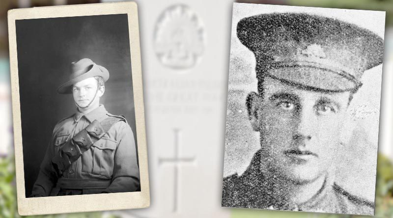 Lance Corporal Ralph Johnson, 32nd Bn, AIF, age 19 of Middle Brighton, Victoria, left, and Lance Corporal John Alexander Crawford, 32nd Bn, AIF, age 30 of Hindmarsh, South Australia.