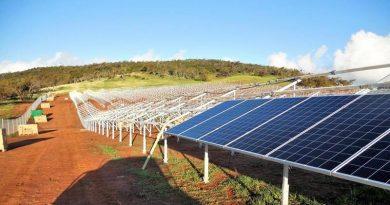 The solar array at the Australian Defence Satellite Communications Station near Geraldton, Western Australia, under construction.