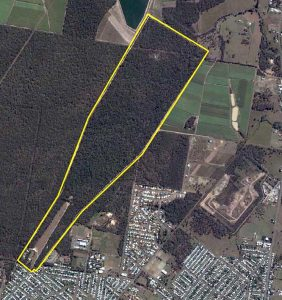 Satellite image of the rifle range property, Walker St, Maryborough, Queensland.