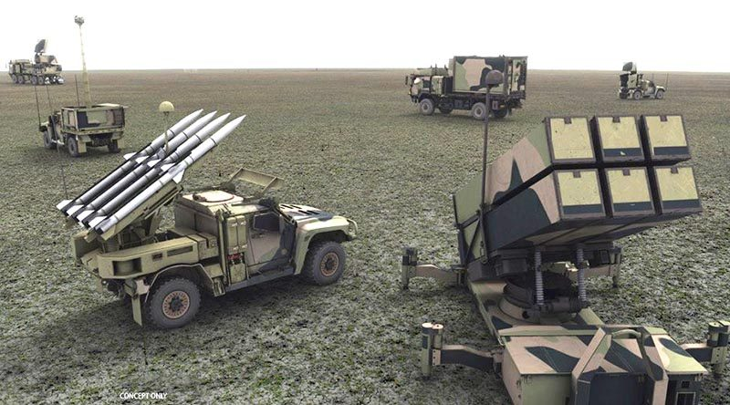 An artist's impression of a 16th Air Land Regiment NASAMS emplacement. Raytheon concept image.