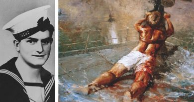 Ordinary Seaman Edward 'Teddy' Sheean and a painting depicting his final heroic action. Courtesy Royal Australian Navy.