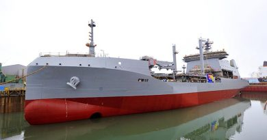 Royal New Zealand Navy's future HMNZS Aotearoa floats free for the first time. RNZDF photo.