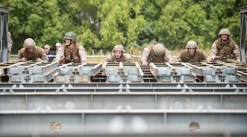 New Zealand Army engineers build a Bailey bridge during a bridge-building competition at Linton Military Camp in November 2017. NZDF file photo.