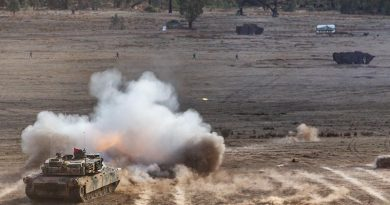 An Australian Army M1 Abrams tank fires its 120mm gun during a combined-arms live-fire activity as part of Exercise Chong Ju 2019 at Puckapunyal Military Training Area, Victoria. Photo by Corporal Kyle Genner.