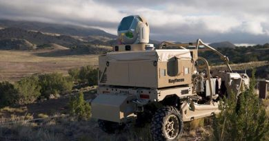 Raytheon-built, ATV-mounted, high-energy laser system. Raytheon photo.