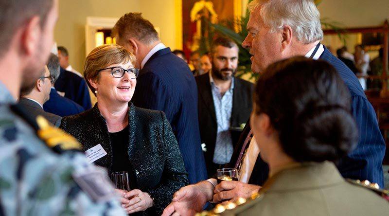 Then Minister for Defence Industry Linda Reynolds talks with WA Governor Kim Beazley and ADF members at a Navy Clearance Diver Trust event in Perth. Photo by Leading Seaman Richard Cordell.