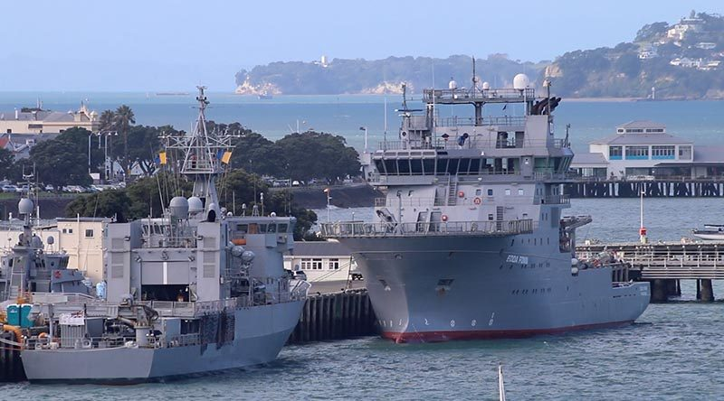 The future Royal New Zealand Navy dive and hydrographic vessel at Devonport Naval Base. Photo by Mike Millett, AirflowNZ.