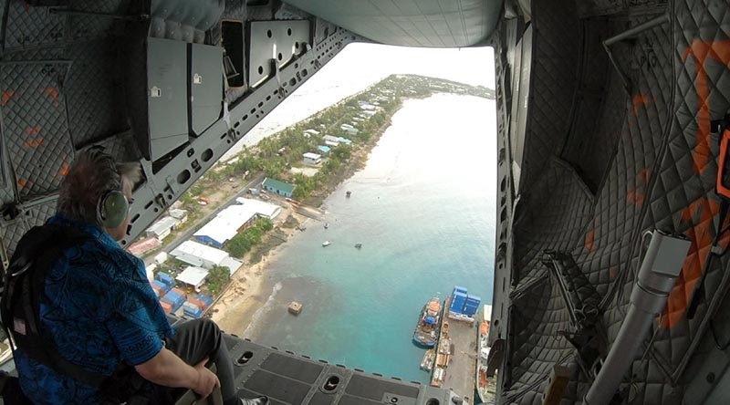 United Nations Secretary General António Guterres views islands of Tuvalu from the ramp of a No. 35 Squadron C-27J Spartan. Story and photo by Eamon Hamilton.