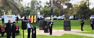 CCPL Chevvy Dolan (608 Squadron, AAFC) giving the Reading for the 2019 Bomber Command Memorial Service in Adelaide.