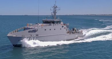 The first Austal-built Guardian-class patrol boat on builder's sea trials. Austal photo.