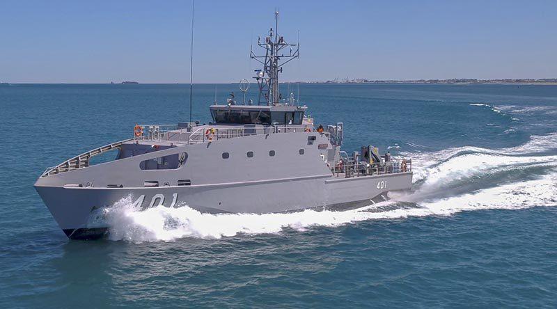 The first Austal-built Guardian-class patrol boat on builder's sea trials. Austal photo.